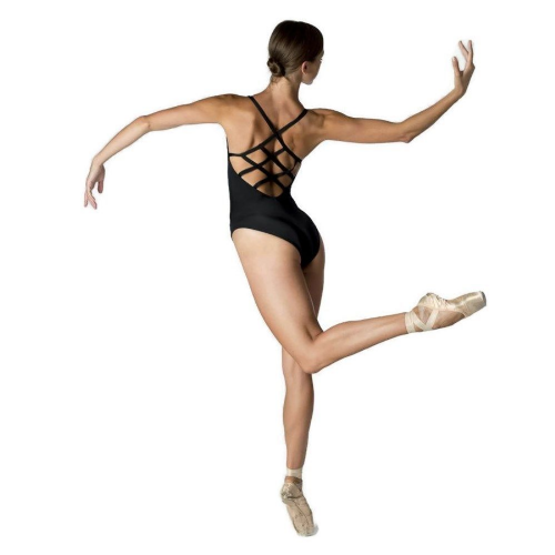 DANSEZ Dans-ez Dance Diamond CrissCross Back Ruched Front Camisole Leotard Black